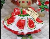 """Primitive Raggedy 14"""" NEW """"SuMMeR FuN"""" Watermelon Annie!~pinwheel ornie!~"""