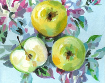 Apples on a floral fabric - acrylic ORIGINAL painting  on canvas - Drawing Still Life - wall art- wall decor- home decor