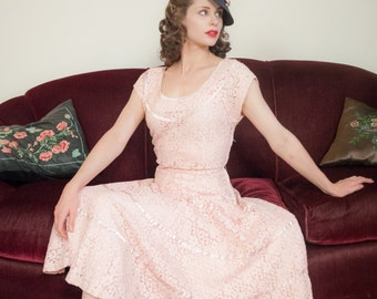 Vintage 1950s Dress - Fabulous Pale Pink Cotton Lace 50s Party Dress with Full Skirt, Ribbon Stripes and Matching Slip