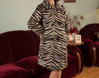 1960s Vintage Coat - Fabulous High Quality Faux Fur Zebra Print 60s Coat with Double Breasted Buttons