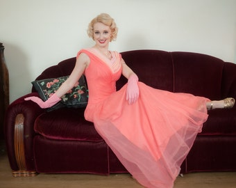 Vintage 1950s Dress - Hot Pink Late 50s Full Length Nylon Chiffon Evening Gown with Two Tone Ruched Neckline by Emma Domb