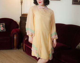 Vintage 1920s Dress - Uniquely Beautiful Sheer Silk Chiffon Flapper Dress in Butter Yellow with Amazing Full Striped Sleeves and Drapes