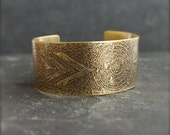 RESERVED - Crop Circle Cuff Bracelet - No.13 - Etched Gold Brass, Dark Oxidized Patina, Wide Metalwork Cuff, Space Boho Jewellery