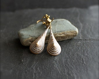 SALE - White-Wash Patina Drop Earrings - Stepped Teardrop, Textured Gold Brass, Handmade Boho Jewellery