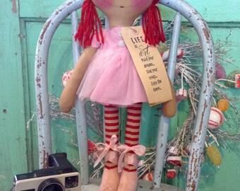 Ballerina  dancer  Raggedy Ann doll -  ballerina doll -  dancer  - raggedy Annie doll -  ballerina ragdoll - pink -  dancing ragdoll  -