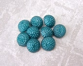 Berry-licious Plastic Buttons 12mm - 1/2 inch Teal Blue Berry Buttons - 9 Small Domed Half-ball Teal Blue Shank Buttons PL349