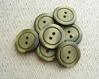 Glistening Green Buttons, 23mm 7/8 inch - Subtle Sparkle Olive Green Sewing Buttons - 7 VTG NOS Moss Green Plastic Sew Through Buttons PL195