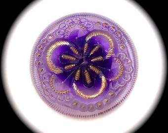 2 Czech Glass Buttons on SALE, 27mm 1 1/16 inch Reverse Painted Lavender Purple Fairy Flower w/ Gold Luster Details - CLEARANCE