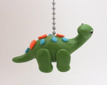 Dinosaur Ceiling Fan Pull Chain - Brontosaurus Fan Pull - Children's Dinosaur Themed Room Decor - Dinosaur Nursery -  Clay - Green, Blue