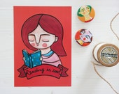 Set, postcard + pins. Reading is cool postcard, book lover illustration and brooches