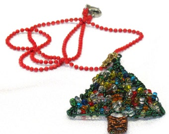 Christmas Tree Pendant Necklace ~ Made To Order ~ Wire Wrapped Tree Pendant on a Red Ball Chain