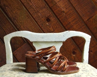 70s Brown Two Tone Strappy Sandals with Stacked Heel 5 5.5
