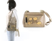 Leather Bag Golden Flower Lace Taupe Gray Vintage Purse