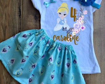 Cinderella Skirt Set - Cinderella Birthday Dress - Cinderella Tutu - Cinderella Outfit - Cinderella Dress