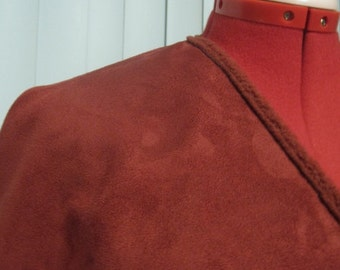 Dusty Cranberry Faux Suede and Sherpa Ruana Wrap Cape Poncho- Ready to Ship!