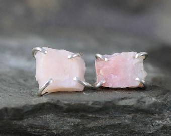 Pink Opal Earrings - Raw Uncut Rough Opal Earring - Sterling Silver Stud Style - Rustic Shape - October Birthstone - Raw Gemstone Earrings
