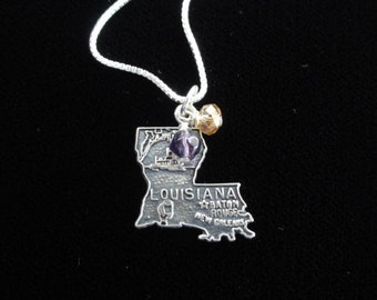 LSU Tigers Necklace- Vintage Sterling Silver Louisiana State Map Charm- Pendant Purple & Yellow Beads- Louisiana State University Necklace