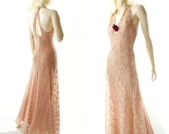 1930s Vintage Dress, Peach Lace Maxi, Vintage 30s Dress, Ecru Lace Prom Dress, 1930s Formal Dress, 30s Bias Dress, 1930s Wedding Dress, xs
