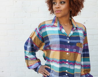 1990s Shirt Plaid India Geometric Button Up Top