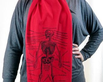 Red Jersey Cotton Anatomical Skeleton Scarf