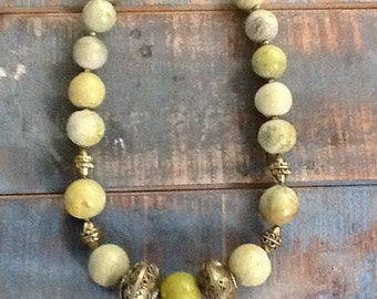Ancient Turquiose and Vintage Brass Statement Necklace