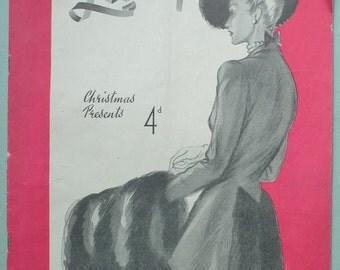 The Lady Nov. 1947 vintage 1940s 40s UK women's magazine fashion evening dresses knitting patterns black doll sock slippers Armed Forces