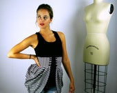 Black and White Stripe Bustle, Striped Bustle, Gothic Clothing, Steampunk Bustle, Circus Costume, Women's Costume