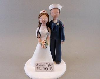 Nurse & Navy Officer Custom Made Wedding Cake Topper