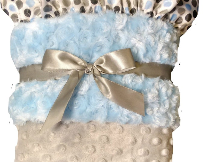 Baby Blue and Silver Gray Minky Dot Baby Blanket, Polka Dot Satin Ruffle, , three sizes