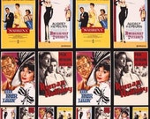 Audrey Hepburn Fabric Movie Poster Pannel Hollywood Icon Fabric Breakfast At Tiffany Sabrina Bogart Harrison Peck Golden Age Fabric