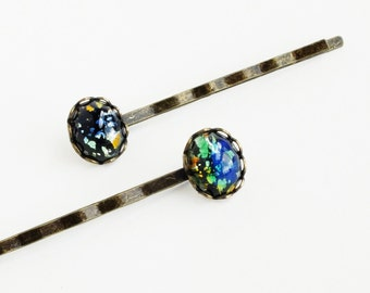 Black Fire Opal Hair Pins Iridescent Glass Vintage Bobby Pins Harlequin Fire Opal Accessories