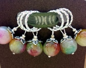 Stitch Markers - Pastel Gemstone Knitting Markers - Pretty Silver and Stone Markers - Dangling Marker Knitting Accessories - Pastel Rainbow