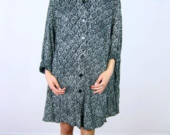 Oversized Black and Cream Patterned Dress
