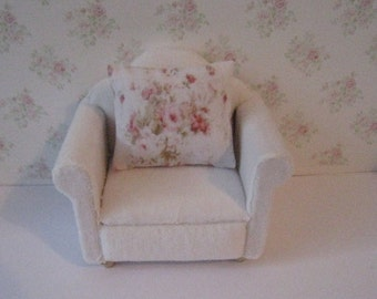 Dollhouse chair, armchair,  Living room chair,  miniature chair, white velour chair, mini armchair,, twelfth scale, dollhouse miniature
