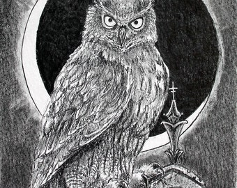 Midnight Vigil LIMITED EDITION Print Gothic Owl Perched on Gothic Spire Ruin with Crescent Moon
