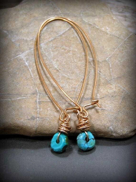 Turquoise Earrings, Long Hoop Earrings, Large Dangle Earrings, Bohemian Earrings, Turquoise Jewelry, Boho Earrings, Extra Long Hoop Earrings