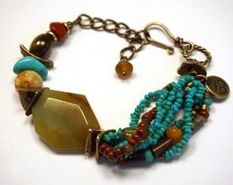 Tribal Boho Bracelet   Mixed Stone Bracelet   Multistrand Bracelet   Turquoise Bracelet   Ohm Charm