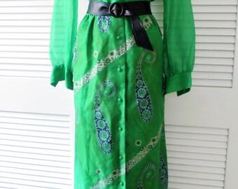1970s ALFRED SHAHEEN green hostess/maxi dress - Large size - XL