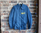 Vintage U.S. Navy Windbreaker Coaches Jacket, Snap Front, Men's Small by Stypled by Champion Rochester NY New York