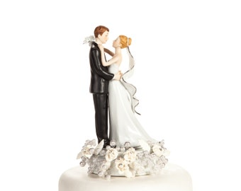 White and Silver Vintage Rose Pearl Wedding Cake Topper - Custom Painted Hair Color Available - 101163