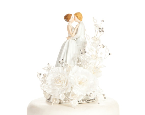 Crystal Romance Lesbian Gay Wedding Cake Topper - Custom Painted Hair Color Available - 100955