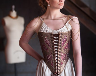 XS Corset Bodice Avant Garde Tudor Inspired Corselet in Leather and Sequins, for 16th century, burlesque, theatre, halloween, costume