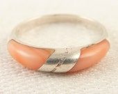 Size 5.5 Dainty Vintage Sterling and Pink Coral Band Ring