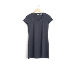Size S // RIBBED T-SHIRT DRESS // Black - Short Sleeve - Vintage '90s Minimalist - Everyday Basic.