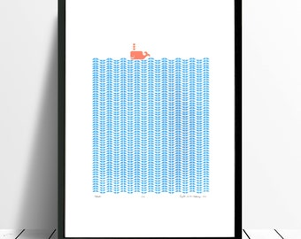 """Fine Art Print """"Whale"""" (Cerulean and Coral) A3 size - FREE Worldwide Shipping"""