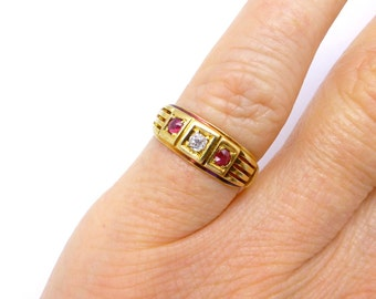 Antique ruby diamond ring Victorian Edwardian 18ct 18k English vintage engagement wedding anniversary band pinky finger Baby ring*FREE SHIP