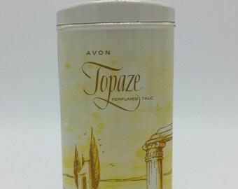 1960s Vintage Avon Topaze Perfumed Talc Tin Full 2.75 oz