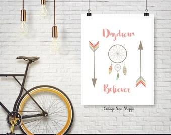 Daydream Believer, Tribal Art, Feather Art, Dream Catcher Art, 5 x 7, 8 x 10, 11 x 14, INSTANT DOWNLOAD, Coral, Arrow Art, Tribal Wall Art
