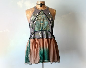 Women's Gypsy Couture Reconstruct Shirt Bohemian Top Artsy Boho Tank Ethnic Style Babydoll Top High Neck Tank Eco Friendly Clothes L 'TESSA'