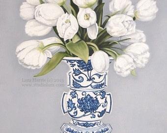 Exuberant Tulips in Ming Vase . . . . . . . . .8x10 Fine Art Giclee Print by LARA Ginger Jar